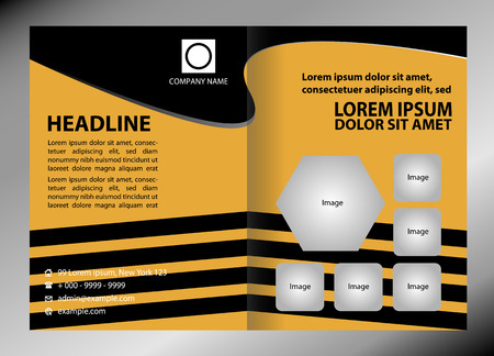 two page spread: Vector empty brochure template design with black and yellow elements