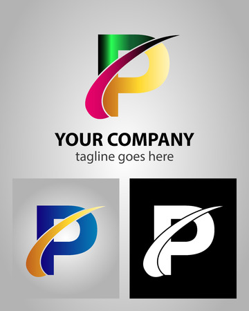 abstract logos: Abstract icon logo for letter P