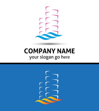 logo batiment: Résumé logo immeuble de bureaux icône immobilier Illustration