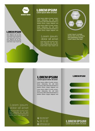 Brochure folder leaflet bio eco green leaf nature abstract element Illustration