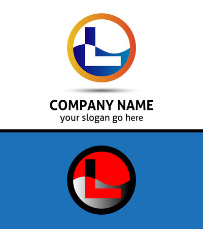 Vector illustration of abstract icons based on the letter L logo