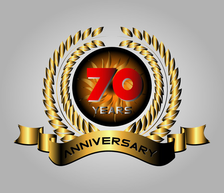 70 years: 70 years anniversary golden label with ribbons, vector illustration