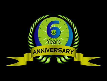Celebration Anniversary golden laurel wreath, 6 years Vector