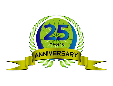 25: Celebrating 25 Years Anniversary - Green Laurel Wreath Seal with Ribbon