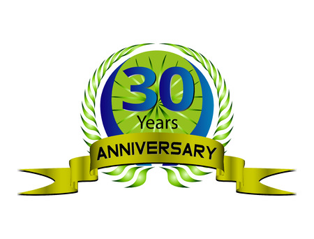 30 Years Anniversary - Laurel Wreath Seal Vector