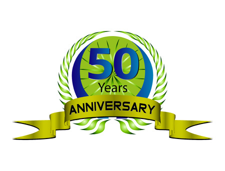 50 years: 50 years Anniversary green label with ribbon and Laurel wreath Illustration