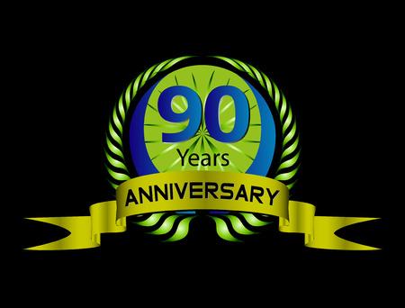 90 years: 90 anni di anniversario etichetta verde con nastro e Corona