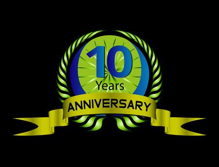 Célébrons 10 ans Anniversaire - Green Seal Laurel Wreath with Ribbon Banque d'images - 36143680