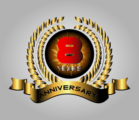 8 year anniversary golden label, 8th anniversary decorative red Vector