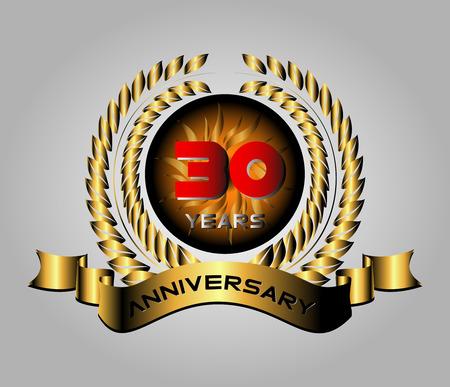 Celebrating 30 Years Anniversary - Golden Laurel Wreath Vector Vector