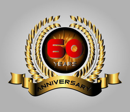 60 years: 60 years anniversary golden label with ribbons, vector illustration