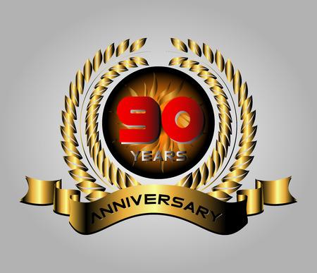 90 years Anniversary vector celebration Vector