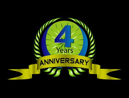 4 Jahre Geburtstagsfeier, 4. Jahrestag Satz Standard-Bild - 36143801