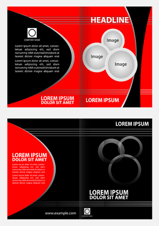Empty bifold brochure template design with red color booklet Vector