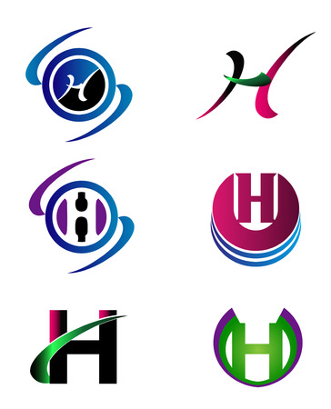 sign h: Letter H Company icon template set Illustration
