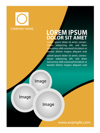yellow background: Flyer template vector Illustration