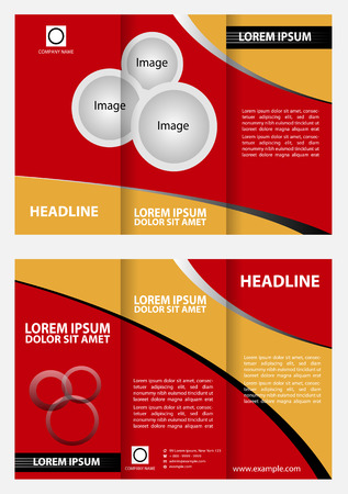 tri fold: Red brochure tri fold template design Illustration