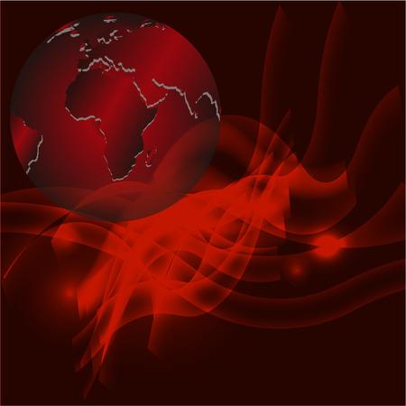 fond abstrait rouge: Red background abstrait avec mod�le de globe Banque d'images