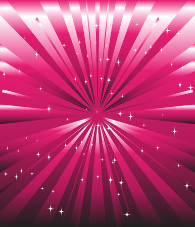 love explode: Sparkling stars on pink magenta ray background template