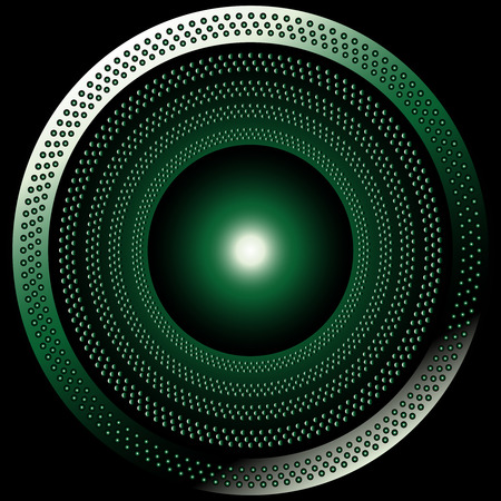 ironworks: Circular brushed metal texture with dots green background
