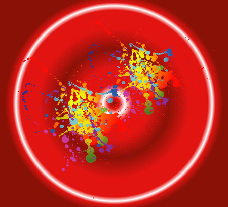 ink splat: Colorful ink splat design with a red background