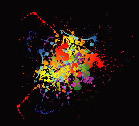 ink splat: Colourful bright ink splat design with a black background