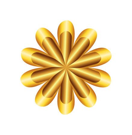 golden ratio: Flor de oro del coeficiente s�mbolo Circular Foto de archivo
