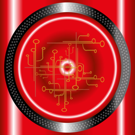 Red technology circle background  template