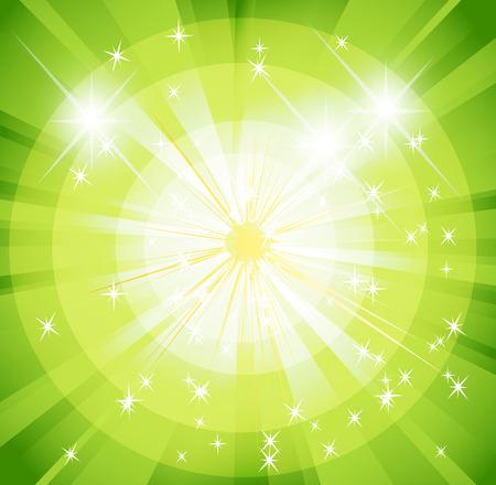 spot lit: Star burst and sunbeam green background