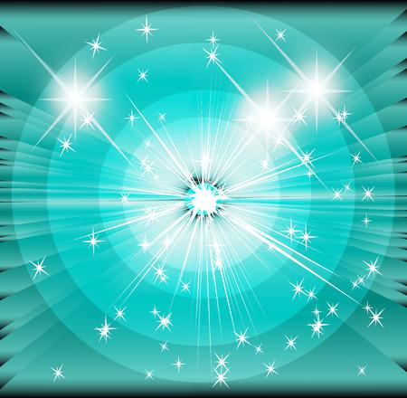 spot lit: Star sunbeam blue background Stock Photo
