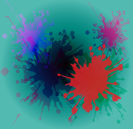 painterly effect: Watercolor paint splash on blue background