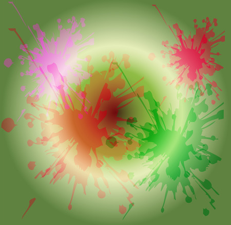 painterly effect: Watercolor paint splash on circle light green background Stock Photo