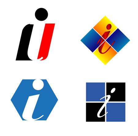 Corporate icon i Letter company vector design template Çizim
