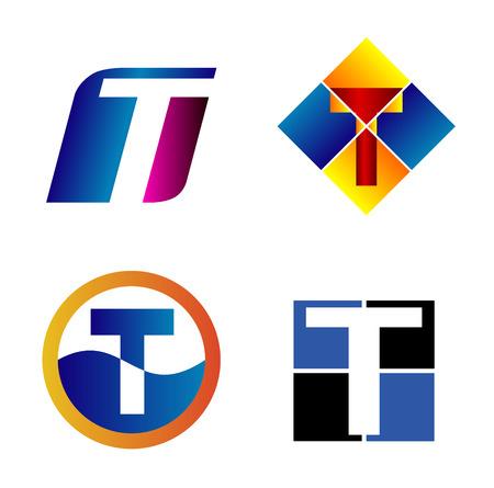 Alphabetical icon Design Concepts. Letter T Ilustração