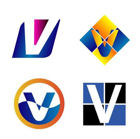 typesetter: Alphabetical icon Design Concepts. Letter V