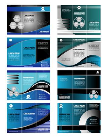 tri fold: Collection blue tri fold business brochure template Illustration