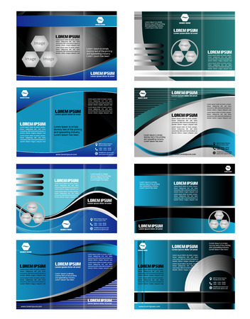 Collection blue tri fold business brochure template Illustration