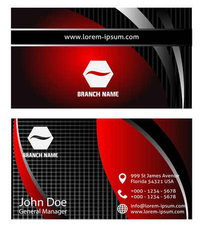 rouge et noir: Rouges cartes de visite noirs Illustration