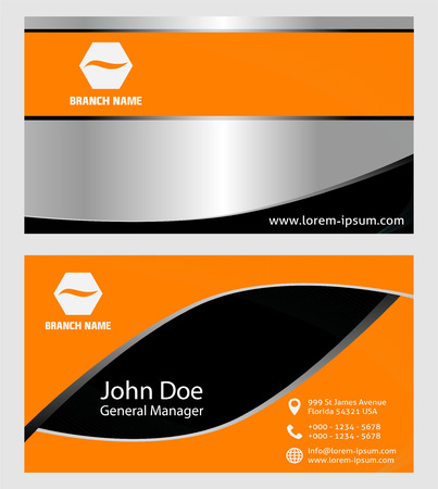 carte visite: Design moderne d'Orange Business Card Illustration