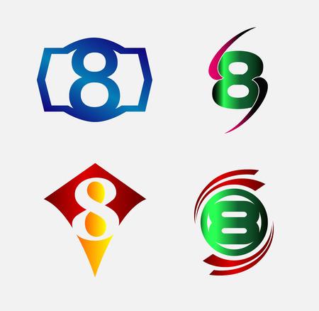 Number logo design.Number eight logo.Logo 8 vector template Vector