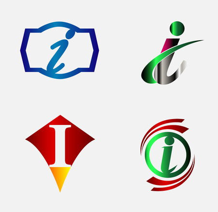 rectángulo: Ilustraci�n de vector de iconos abstractas basada en la letra I