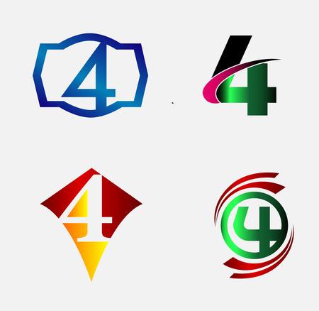 Icone per il numero 4 logo set Archivio Fotografico - 41130057