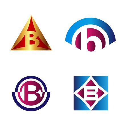 b: Set of alphabet symbols and elements of letter B such b logo Illustration