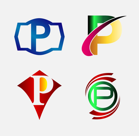 Vector illustration of abstract icons based on the letter P Vector