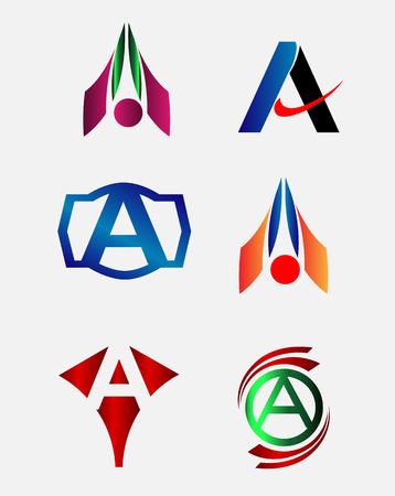 Letter A logo element set Vector