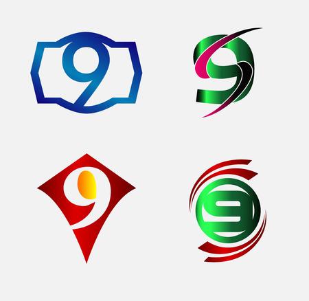 number nine: Number nine 9  icon set collection