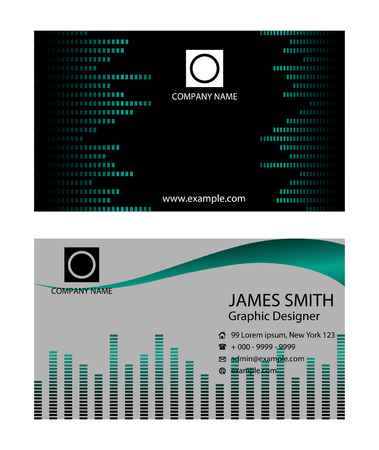 carte visite: Business card with music background