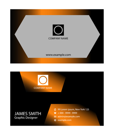 carte visite: Black and orange Business card Illustration