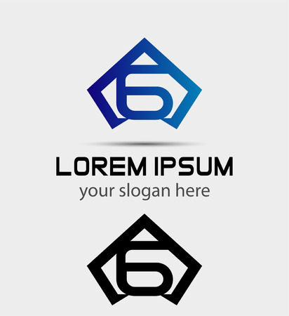 six web website: Number 6 logo design template elements icon