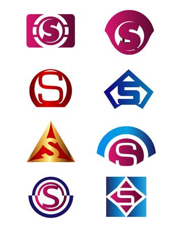 sch: Set of Letter S symbol vector Branding Corporate Identity design template Illustration